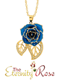 Blue glazed rose pendant in leaf theme