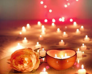 Romantic evening with roses and candles